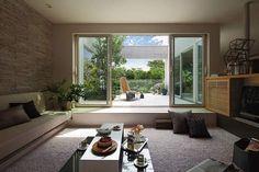 Sunken Living Room, Living Room Sofa, Home Living Room, Living Room Furniture, Living Room Decor, Living Spaces, Dining Room, Leather Furniture, Loft