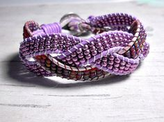 Lavendar Rudy Red Braid Leather Bracelet by BeadWorkBySmileyKit $30.00