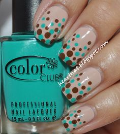 Gradient Dotticure! OPI Don't Pretzel My Buttons as base, then dots using Color Club Age of Aquarius and China Glaze Mahogany Magic. | from heartNAT