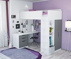 Kids High Sleeper Bed with Wardrobe, Desk and Bookcase , Loft Beds For Small Rooms, Loft Beds For Teens, Bed For Girls Room, Teen Loft Bedrooms, Bedroom Ideas For Small Rooms For Teens For Girls, Room Design Bedroom, Girl Bedroom Designs, Small Room Bedroom, Dorm Room