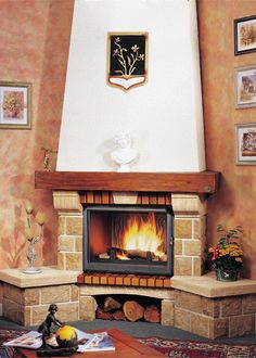 Cottage Fireplace, Home Fireplace, Fireplace Remodel, Fireplace Design, Granite Hearth, Classic Fireplace, Limestone Tile, Wood Mantels, Old Bricks