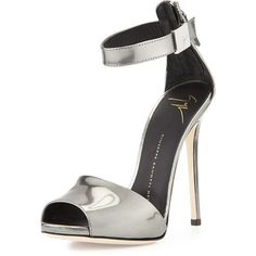 Giuseppe Zanotti Metallic Ankle-Strap Sandal (1 276 140 LBP) ❤ liked on Polyvore featuring shoes, sandals, heels, silver, ankle strap sandals, open toe high heel sandals, metallic leather sandals, giuseppe zanotti sandals and leather sandals