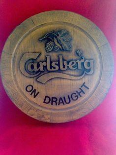 Vintage Beer Barrel Sign Carlsberg on Draught Faux Keg Barrel Top | eBay