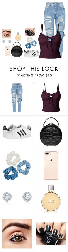"""""""Party Time"""" by agdancer10 ❤ liked on Polyvore featuring LE3NO, adidas, Aspinal of London, Mudd and Chanel"""