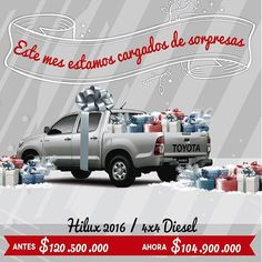 Este mes en #Autoamérica estamos cargados de sorpresas para ti! Ven ya por tu Hilux 2.500 4x4 Diesel 2016 a un precio INCREIBLE!!!! http://ww0.autoamerica.com.co/toyota/hilux/hilux/ Tel 4441121. www.autoamerica.com.co
