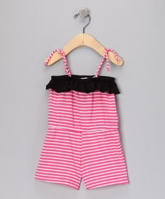 Take a look at this Pink Stripe Romper - Infant, Toddler & Girls by Hula Mula on #zulily today!