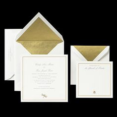 Brides: Classic Invite with Gold Lined Envelope. A gold-lined envelope is the ultimate in luxury for wedding invitations, and this formal set also includes an engraved border and dragonfly icon. Kate Spade, $1,108 for 100 invitations and RSVP sets, crane.com.