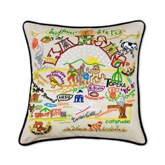 Kansas State Pillow by Catstudio ($168) ❤ liked on Polyvore featuring home, home decor, throw pillows, square throw pillows, plush throw pillows, embroidered throw pillows and handmade home decor