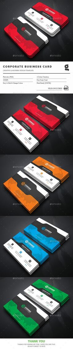 Corporate Business Cards - Corporate #Business Cards Download here: https://graphicriver.net/item/corporate-business-cards/17342502?ref=classicdesignp