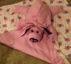 PiggyPack is ready for Preschool, Daycare, or Grandmas' House stuffed with a blanket in pouch