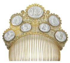 Tiara lovers out there, here is a cameo hair ornament, circa Set with seven carved shell cameos depicting mythological scenes, mounted with an open work foliate and scroll beaded surrounds to a comb. Inner circumference is approx. 173 mm or inches Cameo Jewelry, Royal Jewelry, Hair Jewelry, How To Wear Rings, Vintage Hair Combs, Barrettes, Estilo Fashion, Tiaras And Crowns, Hair Ornaments