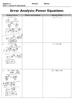 The Exponential Curve: Algebra 2: Error Analysis