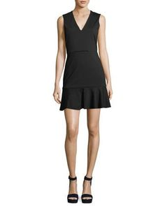 Veronica Beard Scarlet Sleeveless Flounce-hem Mini Dress In Black Tight Dresses, Cute Dresses, Dresses For Work, Box Pleated Dress, Veronica Beard, Bergdorf Goodman, Classy Dress, V Neck Dress, Alice Olivia