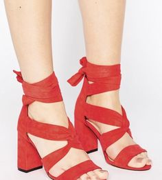 994f18bd64c Shop Lost Ink Wide Fit Red Knot Tie Up Heeled Sandals at ASOS.