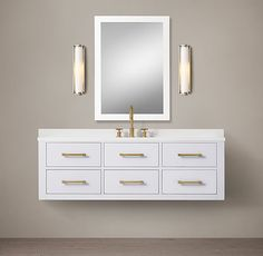 RH's Hutton Single Floating Vanity:This versatile collection brings a spare, Parsons-like sensibility to the bath. Craftsman Bathroom, Rustic Bathrooms, Basement Bathroom, Small Bathroom, Luxury Bathrooms, Bathroom Ideas, Ikea Bathroom, Bathroom Inspiration, Master Bathroom