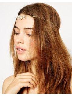 Couronne de chaveux avec barre et fausse perles en édition limitée - Crème