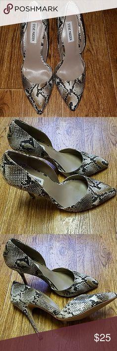 "Steve Madden faux snakeskin pumps Super gorgeous Steve Madden ""Giddy"" D'Orsay heels.  Approx 4"" heels. Size 8 1/2M. Gently worn, still in good shape. Steve Madden Shoes Heels"