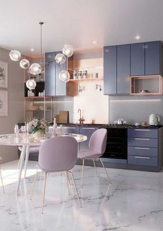 🖤 Pastel kitchen – faded lavender & dusty pink with golden details - Best Home Deco Home Decor Kitchen, Interior Design Kitchen, Modern Interior Design, Decorating Kitchen, Pastel Kitchen Decor, Apartment Kitchen, Apartment Interior, Pastel Interior, Pastel Decor
