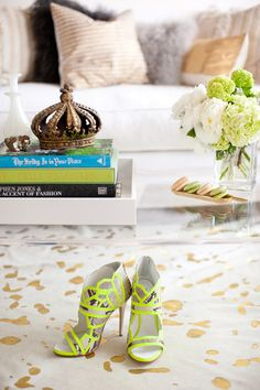 chic: The Life Styled home tour {via the Glitter guide} - rug + shoes Neon Heels, Neon Sandals, Yellow Sandals, Woven Bracelets, House And Home Magazine, Craft Tutorials, Interior Styling, Interior Accessories, Interior Design