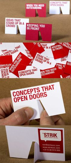 Clever die cut 3D stand up business card design - ideas that stand up in a crowd - concepts that open doors.