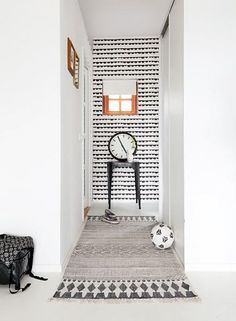 Half Moon wallpaper from Ferm Living Hallway Inspiration, Interior Design Inspiration, Decoration Hall, Hallway Wallpaper, White Wallpaper, Flur Design, Sweet Home, House Doctor, Interiores Design