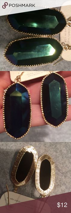 Dark blue Kendra look elle size. Gorgeous. These are set in gold and the most beautiful deep blue. I could not capture beauty of color in photo. You will love these. Kendra Scott Jewelry Earrings