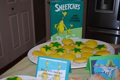 I hosted a Dr. Seuss baby shower for my sister-in-law Susan last weekend. Can I just tell you how fun this theme was! My sister-in-laws and . Baby Shower Punch, Dr Seuss Baby Shower, Dr Seuss Sneetches, Kids Library, Green Eggs And Ham, Two Fish, Cute Cakes, Snacks, Shit Happens