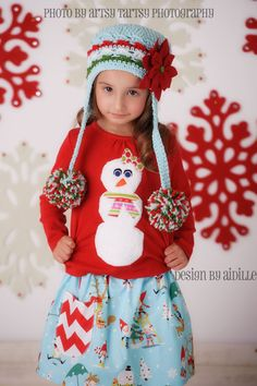 Girls Snowman Shirt Winter Christmas Holiday Red Shirt Applique Tee on Etsy, $32.00