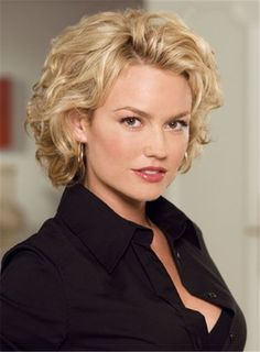 Short Fluffy Layered Curly Synthetic Hair Lace Front Wigs 8 Inches
