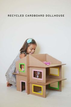 DIY Christmas Gifts for Kids - Homemade Christmas Presents for Children and Christmas Crafts for Kids | Toys,  Dress Up Clothes, Dolls and Fun Games |  Step by Step tutorials and instructions for cool gifts to make for boys and girls |  DIY Recycled Cardboard Dollhouse  |  http://diyjoy.com/diy-christmas-gifts-for-kids