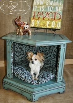 refinished furniture before and after | DIY End Table Dog Beds (before and after) Refinished and distressed