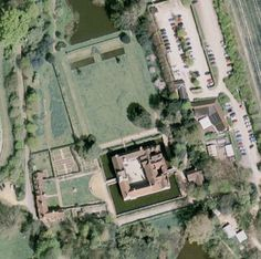Aerial view of Ightham Mote, Sevenoaks, Kent, England, UK. Ightham Mote is a medieval moated manor house set in a beautiful valley in the Kent countryside near Sevenoaks. Dating from around 1320, the building was described by Nicholas Pevsner as 'the most complete small medieval manor house in the country'. | Eclectica