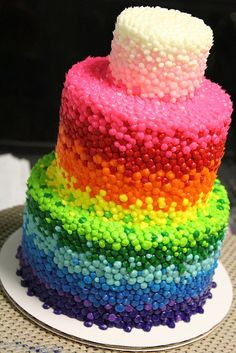 Three layer wedding cake with rainbow-colored fondant balls #wedding…