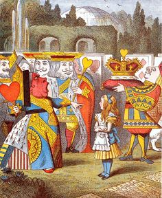 """John Tenniel's illustration of """"The Queen's Croquet-Ground"""" in Alice's Adventures in Wonderland, 1865."""