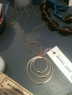 Brass loop long necklace from Just Trade