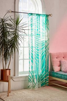 Slide View: 1: Batik-Vorhang mit Palmenprint