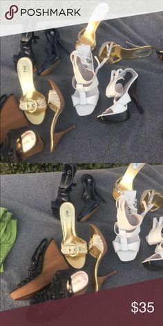 5 pair of shoes One Price! All used... Some more than others with wear and tear.... Some damage... Hence the price Shoes Heels