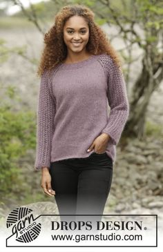 Touch of Heather jumper with lace pattern and raglan by DROPS Design. Free…