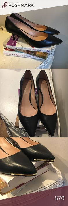 Enzo Angiolini Black Heels with Gold Toe Detail Black leather stiletto style heels with gold metal detailing around base of toe. Never worn! Enzo Angiolini Shoes Heels