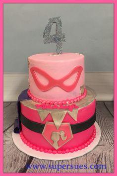 Super Power Barbie themed birthday cake.