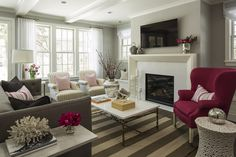 Fireplace profile, Benjamin Moore Stonington Gray | Martha O'Hara Interiors
