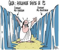 # Gaza  # Hollande divisé le PS ... le dessin d'Alex