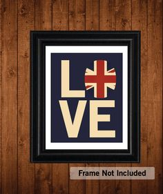 British Flag, I LOVE my BRITISH Roots, Union Jack Flag, Typography 8 x 10 Print on Etsy, $20.00