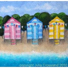 Beach Huts & Bunting greetings card by Julia Crossland Art for From the Wilde