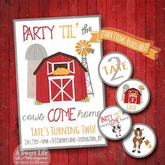 Rustic Farm Country Birthday Party Invitation - Party Til' the Cows Come Home by ASweetLifeDesigns Boy First Birthday Gift, Cow Birthday Parties, Country Birthday Party, Birthday Ideas, Farm Animal Birthday, Farm Birthday, Farm Party Invitations, Barnyard Party, Farm Party Kids