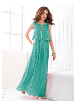 8b6708b23d Fashionable and Elegant Style Scoop Neck Sleeveless Solid Color Bohemian  Chiffon Maxi Dress For Women