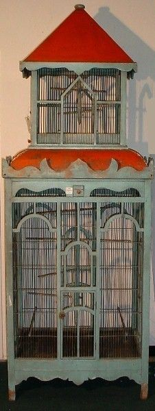 19th C polychrome two-toned painted birdcage -