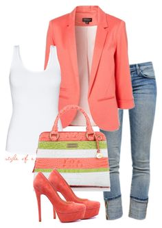 """""""Melon"""" by styleofe ❤ liked on Polyvore featuring Current/Elliott, Talula, Brahmin, cuffed jeans, cropped jeans, platform heels, top handle bags, blazers and tank tops"""