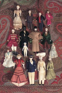 """Collection of German Bisque Dollhouse Dolls ca, 1890 - 3""""-7"""" (7-18 cm). Fifteen dollhouse dolls,each with bisque shoulderhead,painted hair and facial features,muslin body,bisque lower limbs with painted shoes and socks."""