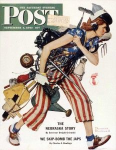"""Liberty Girl,"" Norman Rockwell, 1943. Cover illustration for ""The Saturday Evening Post,"" September 4, 1943. Norman Rockwell Museum Digital..."